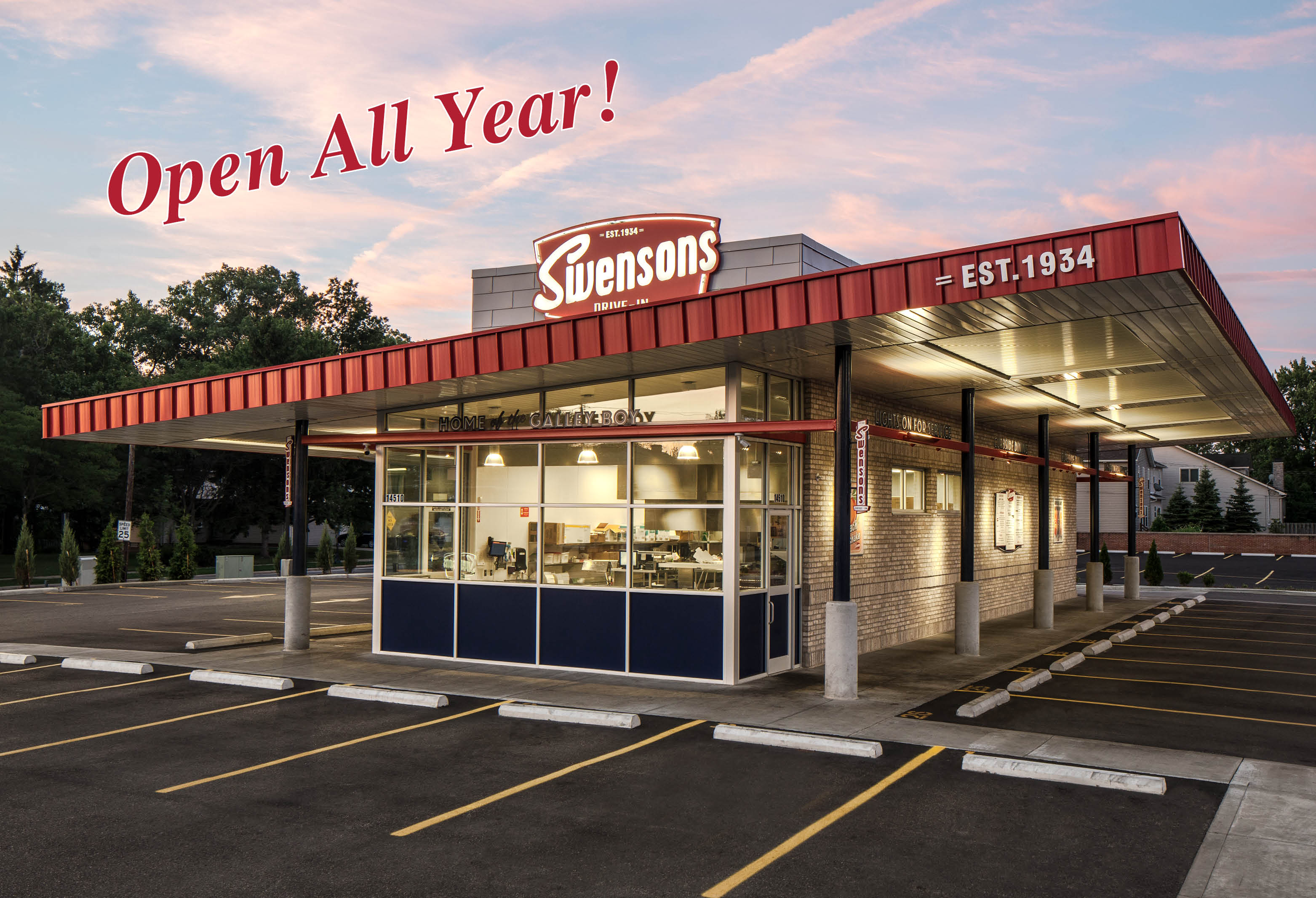 "Swensons Drive-In, Home Of The Galley Boy®, ""Americas Best Cheeseburger"" 